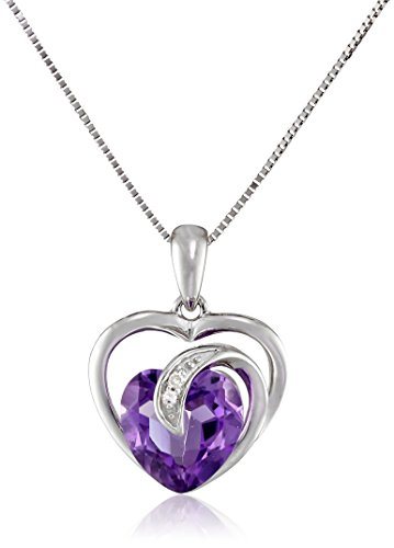 10k White Gold Amethyst and Diamond Accent Scroll Heart Pendant Necklace, 18\
