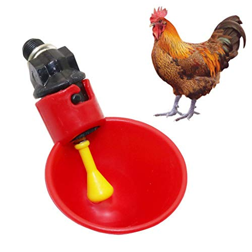 Tharv❤Chicken Drinker Cups Automatic Float Poultry Waterer Drink Cup Coop System Red