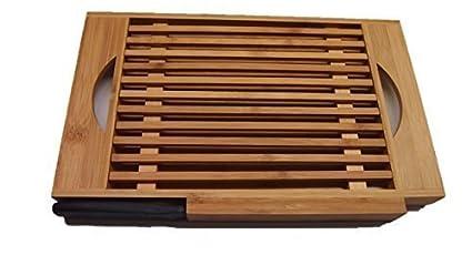 Tabla para cortar pan con Bandeja para migas, Muebles De Bambú tabla para cortar pan