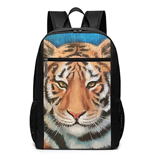 TRMdesign Tiger Oil Adjustable Teens Bookbag Fit 17 Inch for School Or Men and Women