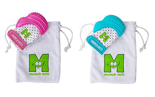 Munch Mitt Teething Toy Stays on Babys Hand is Self-Soothing Entertainment and Gives Pain Relief from Teething plus is an Ideal Baby Shower Gift with a Handy Travel/Laundry Bag- 1 Pink & 1 Blue from Munch Mitt