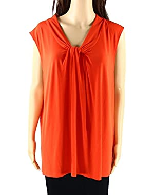 Calvin Klein Women's Plus Front Knot Tank Blouse Orange 1X