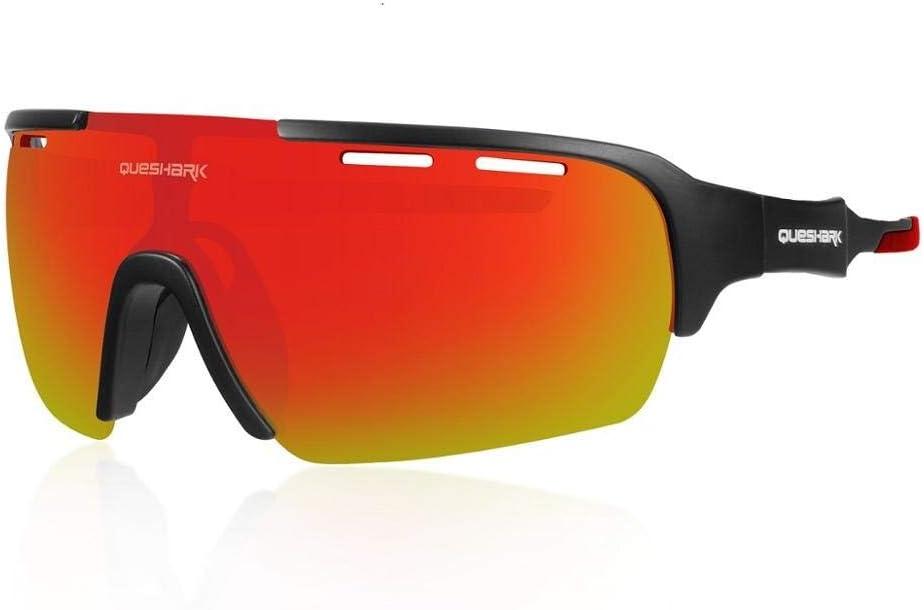 Queshark Mirrored Lens Cycling Glasses for Men Women 1 Polarized 3 HD Lens for MTB Road Bike Eyewear Goggles