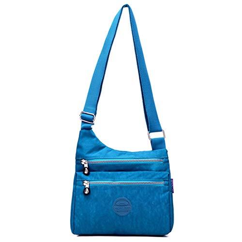 Big a donna con Borsa nylon casual tracolla a tracolla in a zip blu Mango leggera tracolla impermeabile da Borsa nx7znHCq