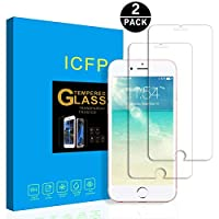 iPhone 7 Tempered Glass Screen Protector 2 Pack, 2.5D Edge, 9H Hardness, Crystal Clear, Bubble Free, 3D Touch Compatible, ICFPWR Screen Protector for Apple iPhone 7 from ICFPWR