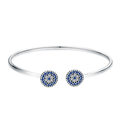 BAMOER 925 Sterling Silver Expandable Lucky Blue Evil Eye Bangle Bracelets with Sparkling Cubic Zirconia for Women Girls