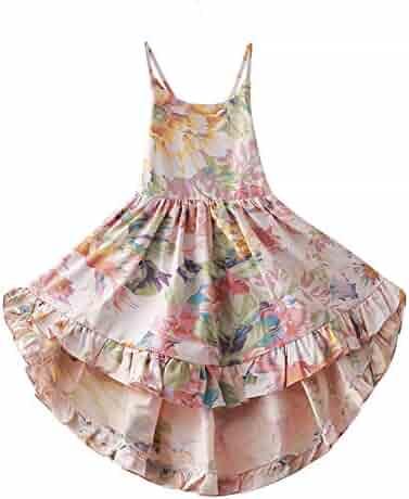 ca50766116 Bcaur Girls' 2T-12 Cotton Floral Dress Summer Backless Casual Sundress