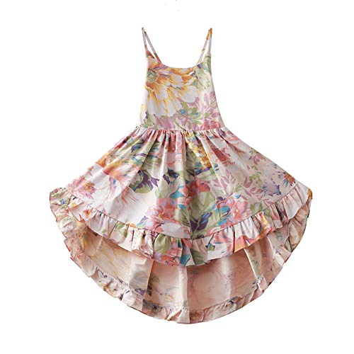 Girls' 2T-12 Cotton Floral Dress Summer Backless Casual Sundress (4T, Brown)