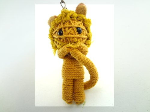 Cowardly Lion Voodoo String Doll Key Chain Handmade Wizard of Oz