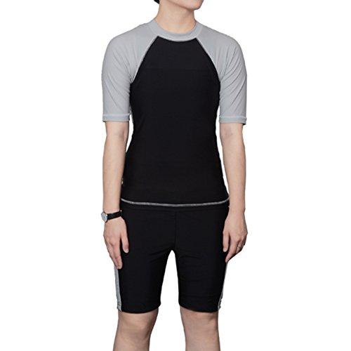 Carpeta pecho Baron Hong Mujeres Lesbianas Tomboy rápido secado de natación pantalones de baño Set Top + (gris negro, XXL)