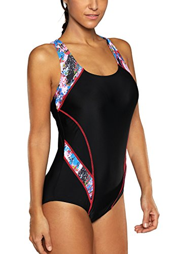 CharmLeaks Womens Competitive 1 Piece Bathing Suit Lap Fitness Swimsuit M Red (Triathlon Tankini)