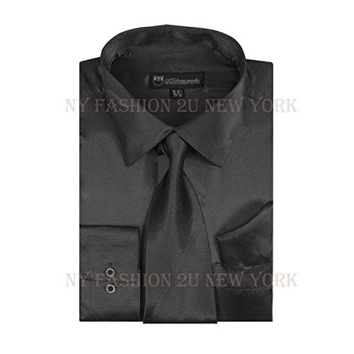 (Milano Moda Satin Classic Dress Shirts with Tie & Hankie SG08-Black-17-17 1/2 -36-37)