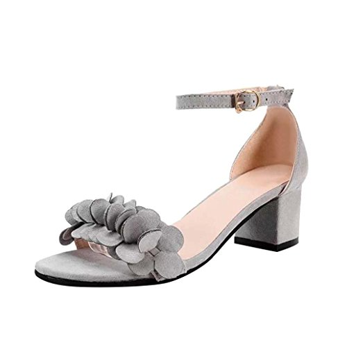 Lolittas Summer Sandals Block High Heel for Women Size 2-6, Leather Floral Bridal Wedding Lace up Block Heel Wide Fit Peep Toe Slingback Strappy Shoes Gray
