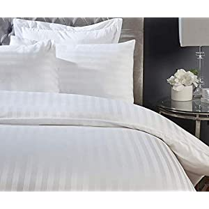 Fitted sheet 300 Thread Count White Satin Stripe