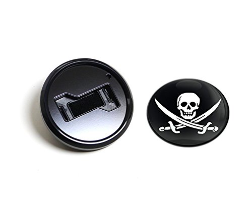 UPC 819878012363, GoBadges BKC013 Jolly Roger - Magnetic Black Grill Badge Holder Combo / Universal Fit / No Tools Required / Weather-Proof And Car-Wash Safe