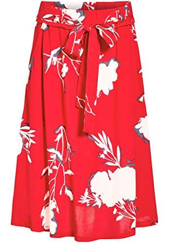 Khujo Rot A En print Mujer Blumen O Para Trapecio Corte Falda BwH8rxFqB