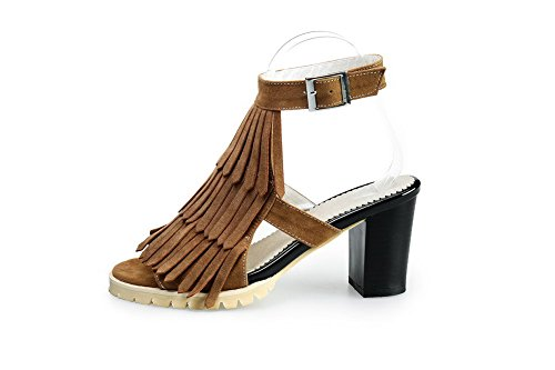 Women's Open Frosted Camel Toe Solid Buckle Heels WeenFashion Kitten Sandals pw6qdUUA