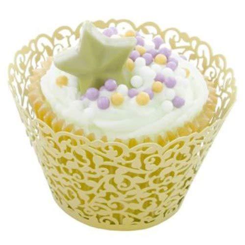 Cuake Light - Nhbr 50 Pcs Filigree Vintage Cupcake Wrappers Wraps Cases Wedding Birthday Uk Light Yellow - Birthday Baby Penguin Closet Film Macbook Blue Wrapper Fr Jumpsuit ()