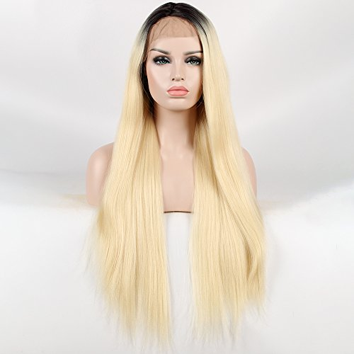 Price comparison product image Destiny Love Long Black Roots Blonde Ombre Yaki Straight Hair Lace Front Wigs 2 Tones Color Synthetic Heat Resistant Fibre Hair Glueless Lace Wigs with Baby Hair for Women 24 Inches