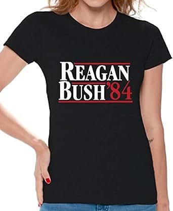 Awkward Styles Reagan Bush '84 Shirt for Women Presidential Campaign 1984 Tshirt S Black