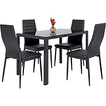 Attractive Best Choice Products 5 Piece Kitchen Dining Table Set W/ Glass Top And 4  Leather