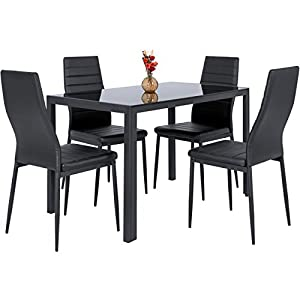 Best Choice Products 5-Piece Kitchen Dining Table Set w/Glass Tabletop, 4 Faux Leather Metal Frame Chairs for Dining Room, Kitchen, Dinette, Black