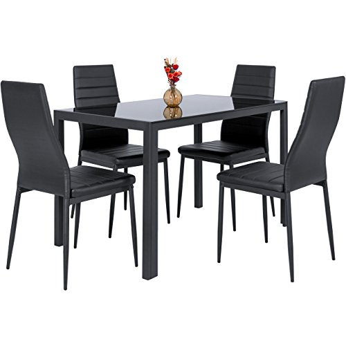 (Best Choice Products 5 Piece Kitchen Dining Table Set W/Glass Top and 4 Leather Chairs Dinette- Black)