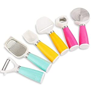 Diswa 6 Pcs Kitchen Gadgets for Pizza Cutter Ice Cream Scoopers Cheese Cutter Slicer Wine Opener Etc
