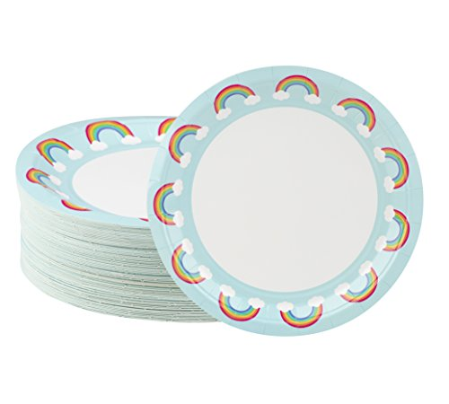 Disposable Plates - 80-Count Paper Plates, Rainbow Party