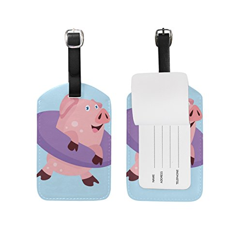 Buoy Label (Cooper girl Pig Wearing Life Buoy Luggage Tag Travel ID Label Leather for Baggage Suitcase 1 Piece)