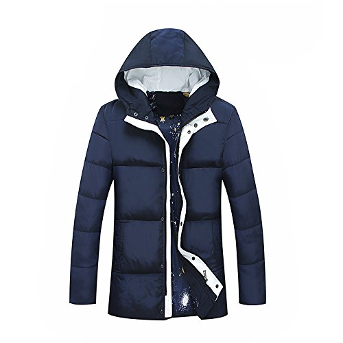 Jacket Thickened Color Down Large DYF Length Size Medium Men's JACKETS FYM Solid Coat Blue qTZwXnIv