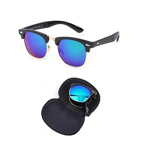 de Femme Anti Hzjundasi et Portable fatigue Plier Charnière lunettes Rtero UV Lunettes Cadre C4 de Mode soleil Classique Anti pour Des soleil Homme xSrSInq
