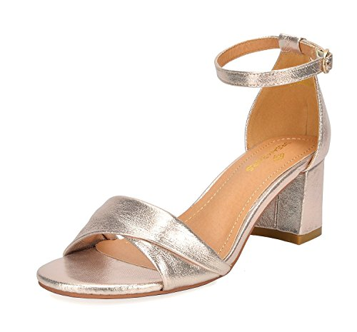 DREAM PAIRS Women's Duchess_03 Gold Fashion Block Ankle Strap Heeled Sandals Size 11 B(M) - Sandal Women Gold 03