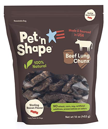 Pet 'N Shape - Made In Usa - Chunx Beef Lung All Natural Dog Treats, Bacon Flavor, 1-Pound ()