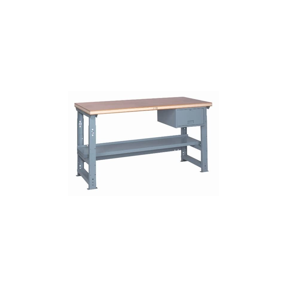 Lyon PP2403AS Steel Top Adjustable Slide Bolt Legs Work Bench with Stringer, Perfect Fit Drawer and Shelf, 72 Width x 28 Depth x 37 Height, Putty