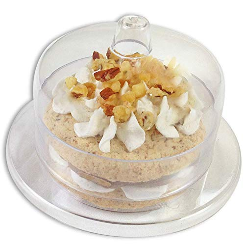 Zappy 24 Mini Cake Stand - Round Mini Cake Plate with Dome Cover/Lid, Clear Heavy Duty Plastic Single Cupcake Stand Mini Dessert Plates 24 Miniature Dessert Cupcake Holders Great For Tiramisu Mousse (Plastic Dome Bell Jars)