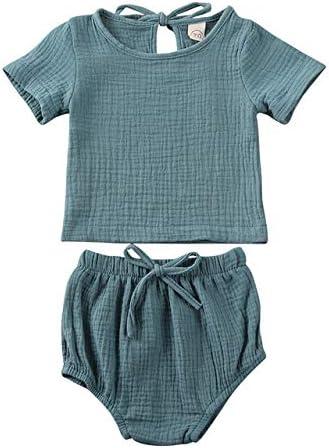 LIXIUQING Jungen und Mädchen Sommerkleidung Jungen und Mädchen Kleidung Baumwolle Leinen Top + Shorts Hosen Einfarbig 2 Stück Kurzarm Kleidungsset |Kleidungsset
