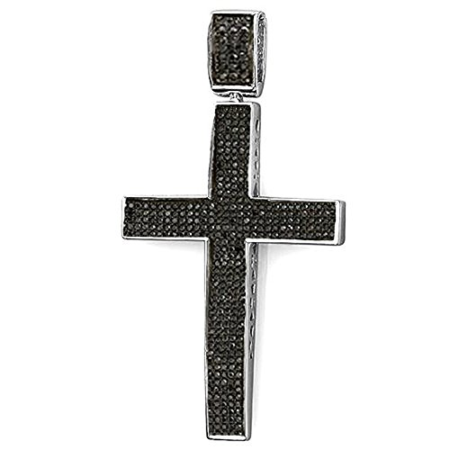 Dazzlingrock Collection 1.20 Carat (ctw) Black Diamond Micro Pave Men's Hip Hop Religious Cross Pendant 1 1/4 CT (Silver Chain Included), Sterling Silver