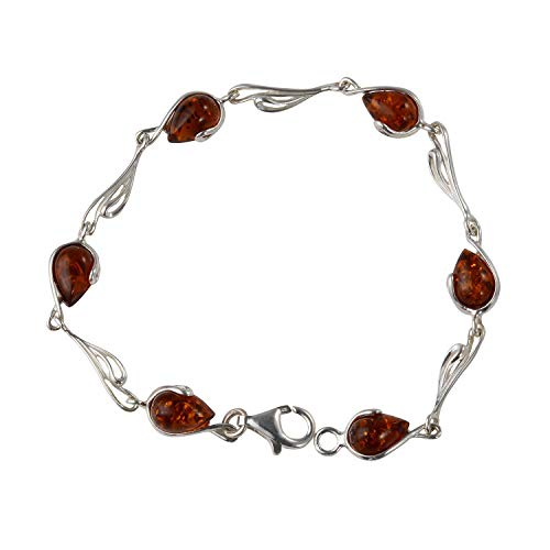 HolidayGiftShops Sterling Silver Honey Baltic Amber Bracelet - Amber Bracelet Honey Sterling Silver