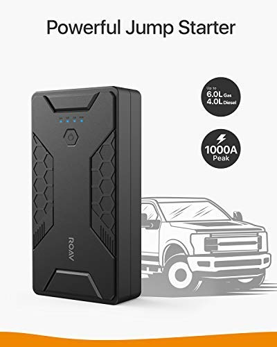 Anker Roav Jump Starter Pro 1000A, 12800mAh, 12V Portable Car Jump Starter (Gas Engines up to 6.0L, Diesel up to 4.0L), Battery and Phone Charger with 3 USB Ports, SOS LED, and Jumper Cables