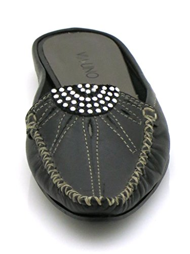 Noir Mule VIA en UNO cuir en cuir cuir mocassins en mule chaussures 2956 chausson Cuir 6g0B6a