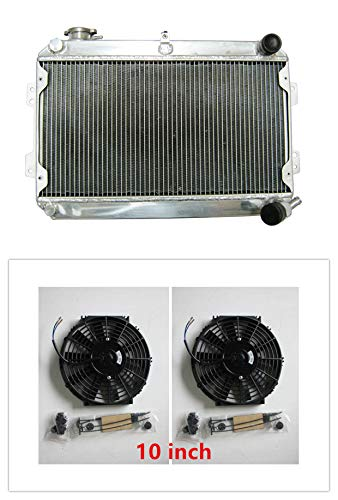 MONROE RACING U0086 56mm 3 core aluminum radiator and twin fans for MAZDA RX7 SA/FB S1/S2/S3 1979-1985