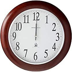 Howard Miller Murrow Wall Clock 625-259 - Modern & Round with Atomic, Radio Control Movement