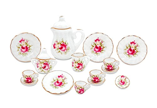 17pc Dollhouse Miniature Tea Set w/ Teapot Sugar Creamer w/ Lids,Cups Saucers and Plates