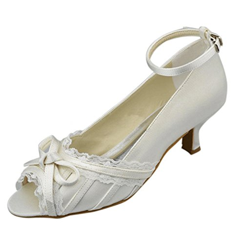 Minitoo Girls Womens Ankle Strap Knot Satin Lace Edge Bridal Wedding Party Sandals Ivory-5cm Heel RmLq63