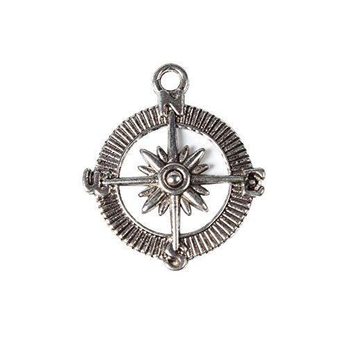 NBEADS 10 Pcs Alloy Tibetan Style Compass Charms Pendants for Jewelry Making, Lead Free and Cadmium Free, Antique Silver, 30x25x2mm
