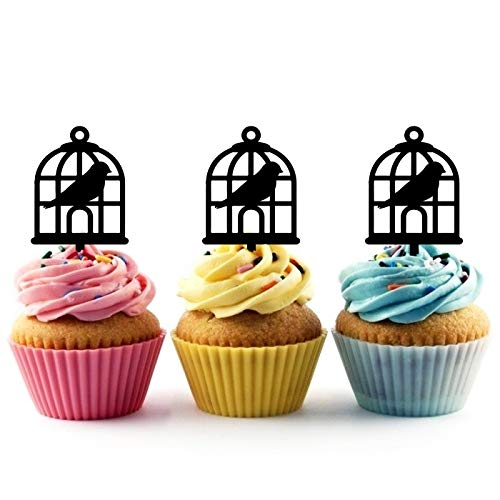 TA1118 Bird Cage Silhouette Party Wedding Birthday Acrylic Cupcake Toppers Decor 10 pcs