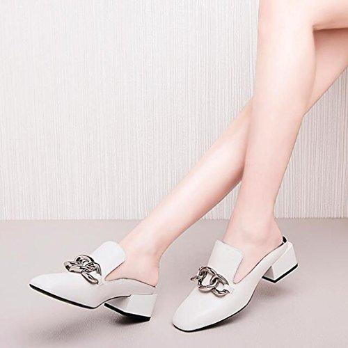 Zapatillas Baotou de Zapatos talón cabeza New Sandalias mujer 2018 cuadrada Cool para de blanco Unidos tacón en MUMA en Summer Zapatillas y con de negras de Europa grueso mujer Blanco pantu mujer Estados con IdqwxRUX