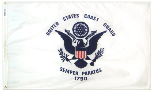 Annin Flagmakers Model 439040 U.S. Coast Guard Military Flag 3x5 ft. Nylon SolarGuard Nyl-Glo 100% Made in USA to Official Specifications. Officially Licensed Manufacturer. ()
