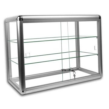 Elegant Silver Anodized Aluminum Display Table Top Tempered Glass Show Case. Sliding Tempered Glass Sliding Doors with Key - Case Anodized
